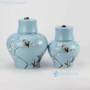 RZHK01 Hand paint flower bird pattern unique design sky blue ceramic pair jar
