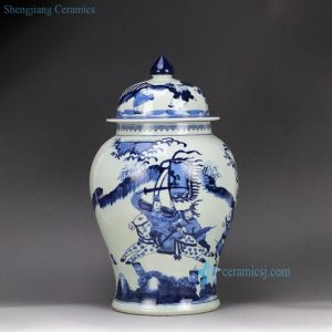 RZHM01-B Hand paint blue white Chinese ancient the three Kingdom war pattern ceramic centerpiece jar