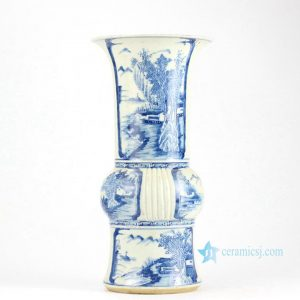 RZHQ01-RZJI Blue and white hand paint Chinese rural pattern ceramic centerpiece vase