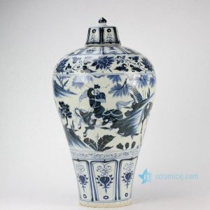 RZHS01 Hand paint the Three Kingdom pattern antique blue and white porcelain temple jar