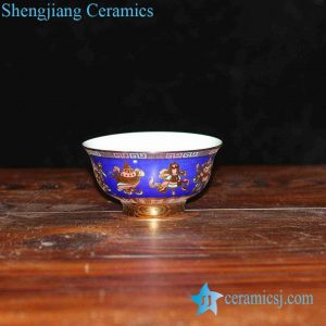 RZHU02-B Colored blue ground golden eight treasure mark white porcelain ceramic tablewarebowl
