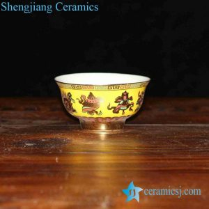 RZHU02-C Yellow glaze ground golden eight treasure mark white porcelain houseware bowl