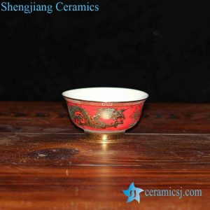 RZHU02-D China red golden dragon mark white porcelain pottery dinner set