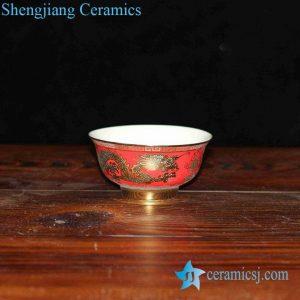 RZHU02-D China red golden dragon mark white porcelain pottery dinner set