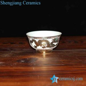 RZHU02-E golden dragon mark white porcelain pottery dinner set