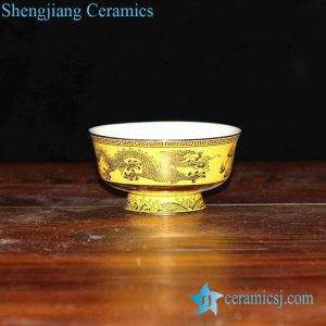 RZHU02-F two dragons playing with a firing ball pattern yellow porcelain high heel bowl