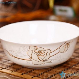 RZHY01-A 6'' top grade golden rose mark bone china ceramic noodle bowl