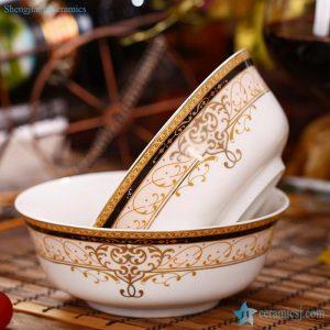 "RZHY01-C 6"" Golden Vienna bone china ceramic bowl microwave"