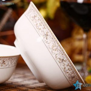 "RZHY01-D 6"" top grade bone china golden rim microwavable ceramic bowls"