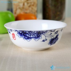 RZHY01-F blue and white wealthy peony mark top garde bone china ceramic serving bowl