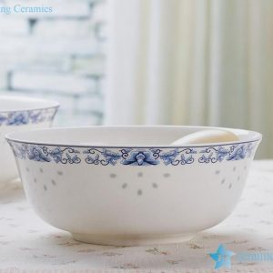 RZHY01-J rice grain cutout blue and white rim fine bone china bowl with a flaring mouth