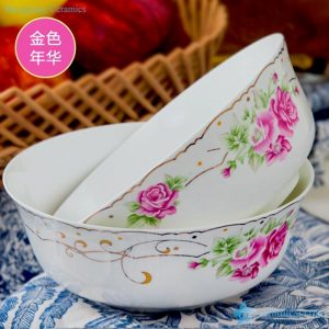 RZHY01-K Golden rim rose mark fine bone china colorful ceramic bowls
