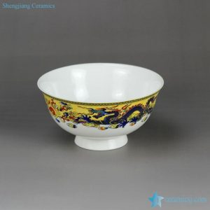 RZHY02-C Colored dragons palying with firing ball mark fine bone china table set bowl