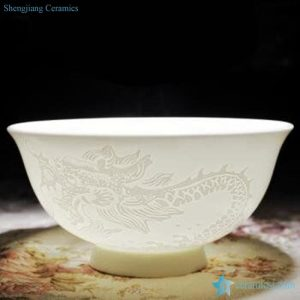 RZHY02-F Pure white classic chinese dragon mark bone china daily use bowl