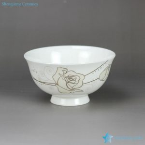 RZHY02-H Gold rose mark anti-scald high heel fine bone china serving bowl