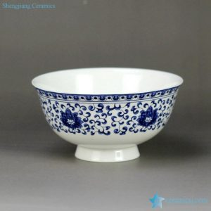 RZHY02-I blue and white interlock lotus branch mark bone china dinnerware