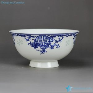 RZHY02-L rice grain pattern blue and white happiness and longevity moral mark high heel bone china dinner set