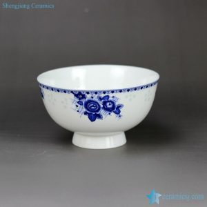 RZHY02-M Flower scent mark anti-scald high heel blue white ceramic bowl
