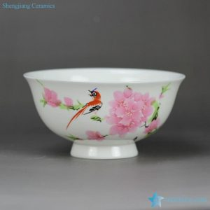 RZHY02-N Peach blossom bird pattern fine bone china Chinese classic famliie rose ceramic bowl