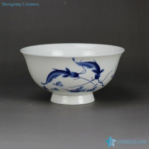 RZHY02-O pair fish mark blue and white top grade bone china material China ceramic bowl