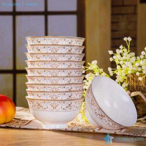 RZHY02-R Golden rim fine bone china high heel porcelain household dinner sets