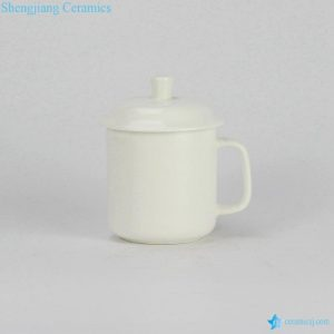 RZIA01 400cc custom logo print available pure white ceramic portable water cup with handle