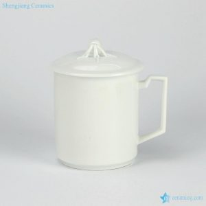 RZIC01-A 600cc White jade like customize logo printing available big porcelain drink ware flask cup
