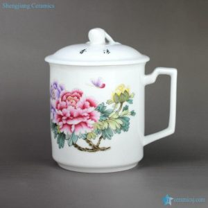 RZIC01-C Peony flower mark China best selling 600cc giant ceramic tea mug