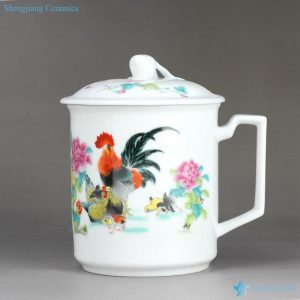 RZIC01-E Cock hen chick warm family pattern cheap daily use glowing ceramic water mug with special lid and handle