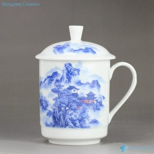 RZIC02 Landscape mark blue white jade like handy porcelain tea mug