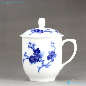 RZIC03-B Best seller winter plum blossom mark blue and white ceramic household coffee cup
