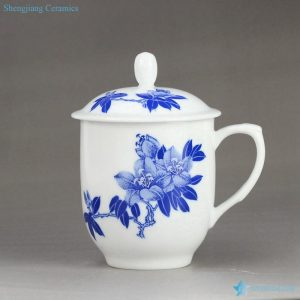 RZIC03-D Gardenia design eco-friendly blue and white ceramic cup