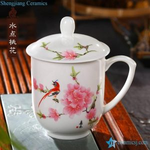 RZIC03-A E F G 400cc Pink plum blossom mark hot sale Chinese promotional healthy porcelain water cup with lid and handle