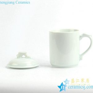 RZIC04 Hot item Celadon glaze solid color simply style pure porcelain tea mug with lid