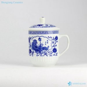 RZID01 850cc high capacity Giant blue and white ceramic mug with lid