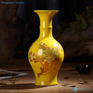 RZIF01-C26-B High temperature fired solid color yellow glaze background chinaware flower vase