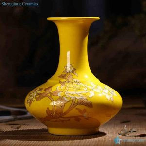 RZIF01-C26-C Golden peony mark on glaze ceramic flower vase