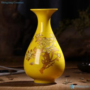 RZIF01-C26-F Regnal yellow glaze golden peony flower pattern ceramic vase