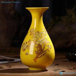 RZIF01-C26-F Regnal yellow glaze golden peony flower pattern ceramic vase