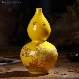 RZIF01-C26-G Fortune comes with blooming golden peony flowers pattern calabash shape porcelain vase
