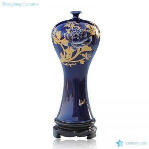 RZIF02-A-C Indigo blue glaze golden peony mark home decoration porcelain vase