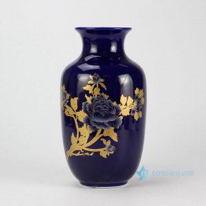 RZIF02-D Wax gourd shape craig blue glaze golden peony mark large ceramic vase