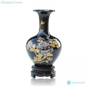 RZIF03-A/B/C Black glazed golden peony mark ceramic flower vase