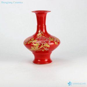 RZIF04-A China red glaze golden peony mark ceramic display vase