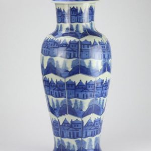 RZIG02 Blue and white hand paint building and pavilion pattern huge ceramic ginger jar