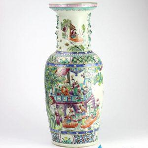 RZIH01 Antique style famille rose hand paint ancient Chinese lotus gathering pattern ceramic centerpiece vase