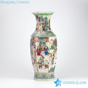 RZIH02 Reproduction hand paint Chinese ancient officialdom pattern hexagonal porcelain vase