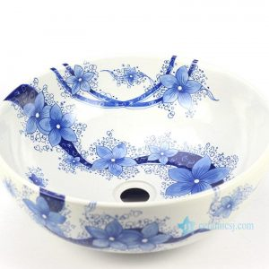 YL-TP Blue and white floral pattern bathroom ceramic counter top round wash basin sink
