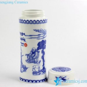 030-RZIN-2 Logo and pattern customized blue and white portable ceramic thermos mason cup
