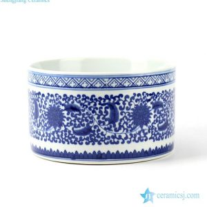 RYCI36 Hand paint blue and white floral mark round ceramic pot